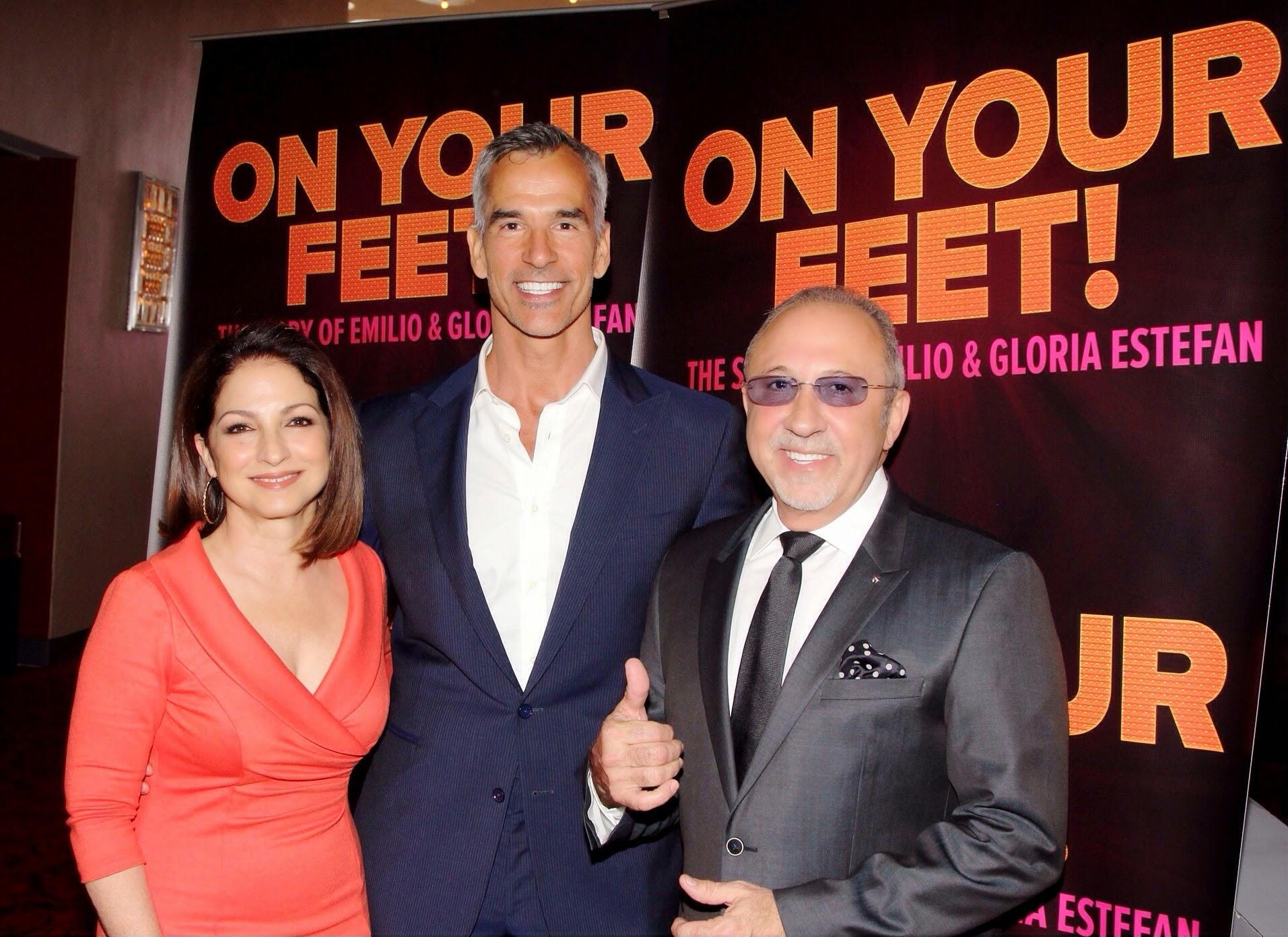 Emilio & Gloria Estefan with director Jerry Mitchell - Photo credit Bruce Glikas 2014