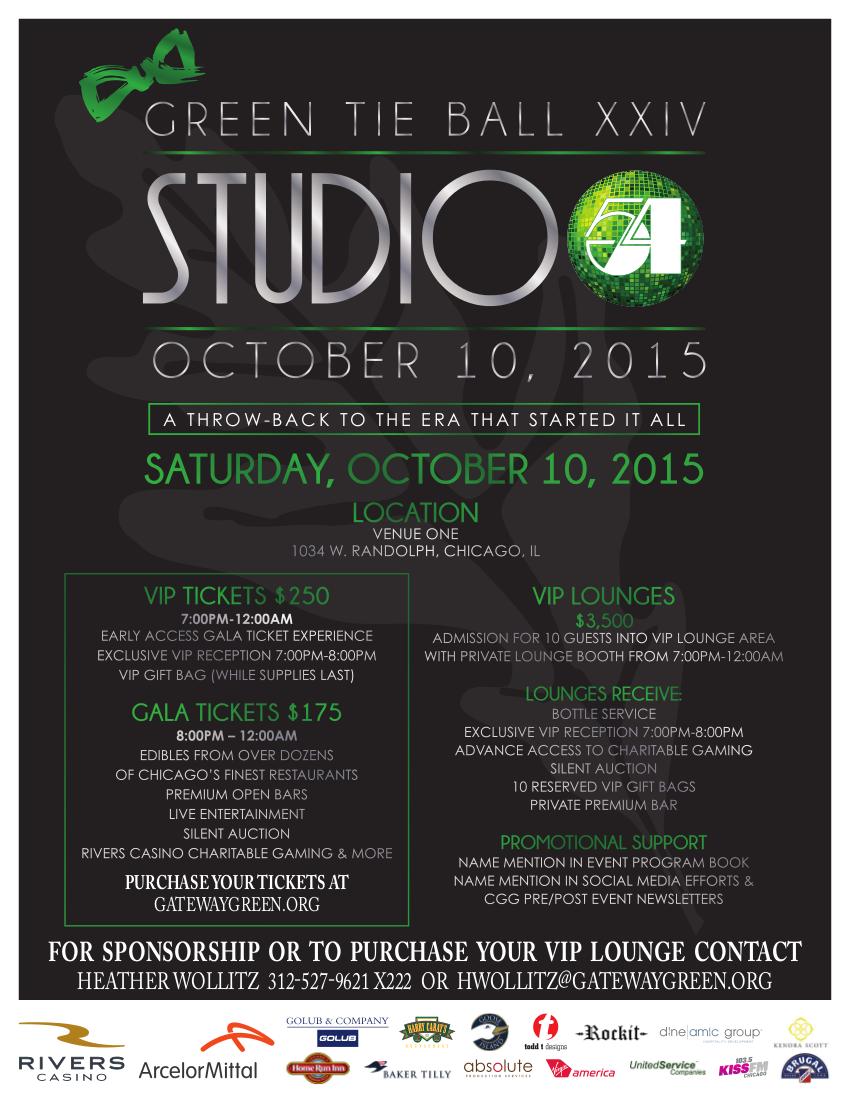 "Chicago Gateway Green's Green Tie Ball XXIV ""Studio 54"" Saturday Oct. 10"